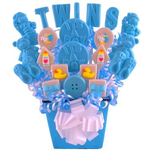 """Double The Fun"" Twin Boys Lollipop Bouquet"