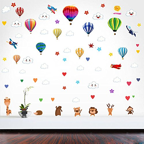 Hot Air Balloon Wall Decal Removable Vinyl Wall Stickers For Kids Bedrooms Decor Art Mural With Cute Clouds,Stars,Animals,Aircraft,Home Decoration (Multicolor decal) by Arttop