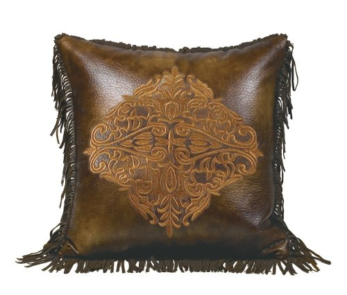 HiEnd Accents Austin Embroidered Western Faux Leather Pillow