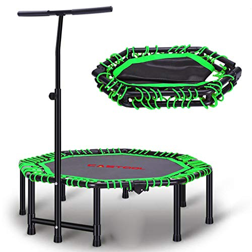 CASTOOL 48''Ultra Quiet Fitness Mini Octagon Foldable Trampoline with Adjustable Handle,Safe Elastic Band - Indoor Fitness/Home Workout Cardio Training for Adults (Green)