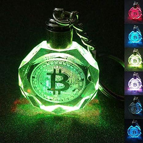 Fengdp K9 Crystal Colgante Llavero Bitcoin Shape Grabado ...