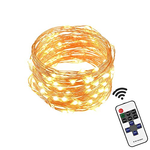 Tour Outdoor LED String Lights Waterproof Dimmable LED Decorative Lights for Patio, Party, Christmas, Wedding (16ft 50LEDs, Warm White)