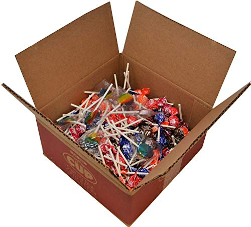Tootsie Pops Miniatures Assorted Lollipops 2.25 Pound Bulk Box (Approximately 200 Pops) with By The Cup Clown Pops