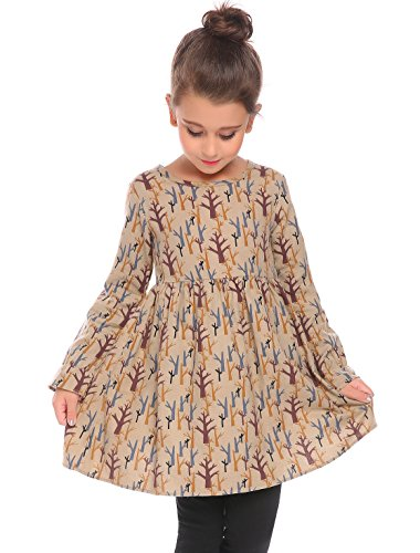 Arshiner Kids Girls Vintage 1950s Long Flare Sleeve Print Skater Cotton Party Dress Beige 120(Age for 6-7 years),Beige,120(Age for 6-7 years)
