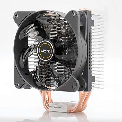 HBT+ Fort A1 CPU Air Cooler for Intel and AMD CPU, 4 x 4 Copper-Made Heat Pipes, Fluid Dynamic Fan Bearing, Special Vents Design, PWM Fan Controller (TA-HFA1-PBV1)
