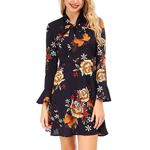 TOTOD Dress Women Flare Sleeve Bow Floral Printed Mini Dress - Ladies Fashion Christmas Party ()