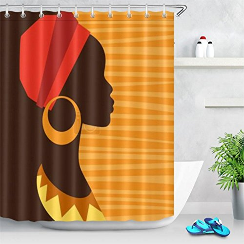 Chengsan Afro Decor Shower Curtain, Girl Profile Silhouette Earrings Grace Elegance Icon Image, Fabric Bathroom Decor Set Hooks, Dark Brown - Hook Earrings Silhouette