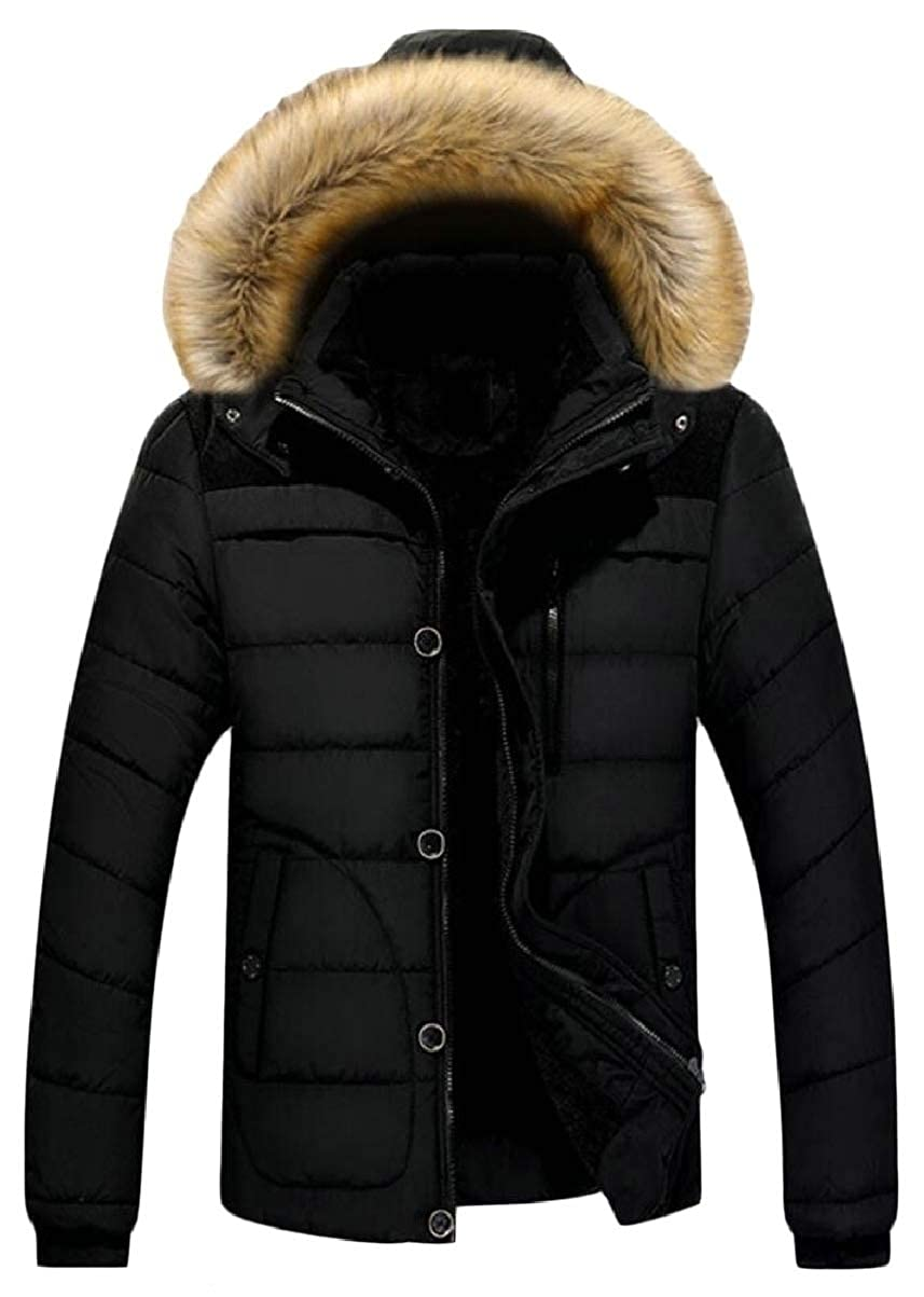 CBTLVSN Mens Outdoor Faux Fur Lined Hood Faux-Fur Collar Padded Thicken Down Jacket Coat