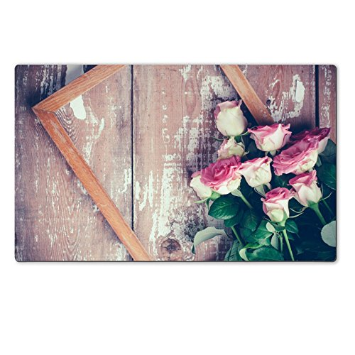 Old Fashioned Rose Bouquet (Luxlady Large TableMat IMAGE ID 31211338 Bouquet of pink roses and a wooden frame on old board background vintage color)