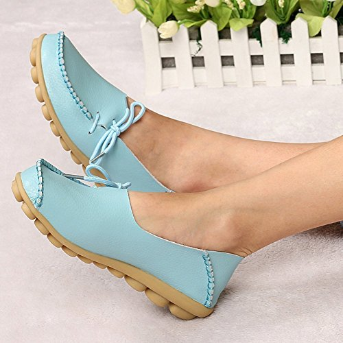 Amerikaanse Trends Dames Leren Veterschoenen Loafers Slipper Platte Pumps Slip-on Lichtblauw