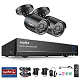 SANNCE 4CH HD 720P DVR Recorder Surveillance Video System and (2) 720P (1280TVL) Indoor/Outdoor Weatherproof Bullet CCTV Cameras, Email Alert, Motion Detect, Night Vision up to 66ft, NO HDD