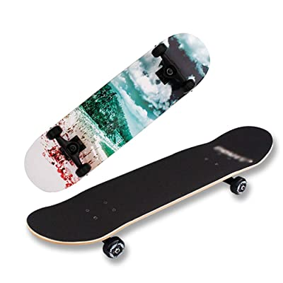 Skateboards for Beginners, Skateboards -Standard Skateboards for Kids Boys Girls Youths, 7 Inches X 31 Inches 8-Layer Maple Panel Aluminum Alloy Bracket Longboard. (Color : B) : Sports & Outdoors