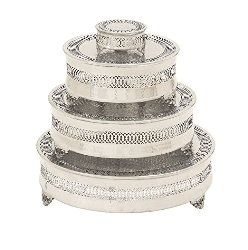 Vintage Garden Cake Plate (Deco 79 Metal Cake Plate, 22 by 18 by 14 by 6-Inch, Set of 4)