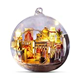 Glass ball doll house,mini hut assembled house Christmas holiday gift, home creative decoration G-017 (with voice control +LED + hemp rope, without glue and making tools)