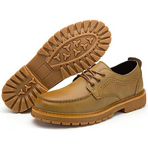 Brown Dk Men Casual Up Lace TAOFFEN Shoes Construction 087Zwqx
