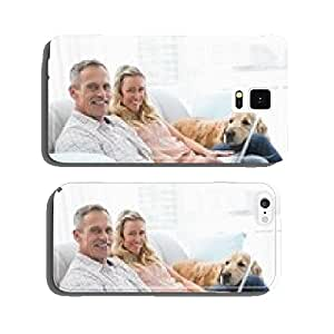 Couple using laptop and spending time with their dog cell phone cover case iPhone6 Plus