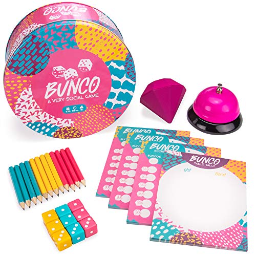 - Bunco: A Very Social Game | 12-Player Party Dice Game | Includes Dice, Scorecards, Pencils, Bell, & Squishy Traveling Jewel