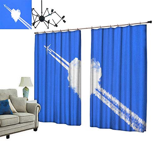 2 Panels Curtain with Hook A Jet Plane Passing Through a Love Cloud Can Block Sunlight,W96.5 xL76 ()