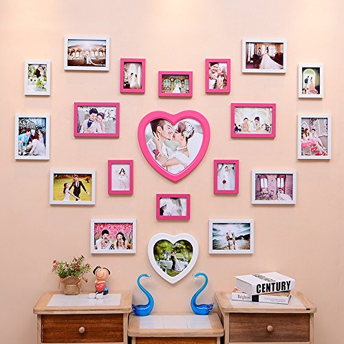 Photo Wall, Creative Living Room Wedding Photo Wall, Love-shaped ...