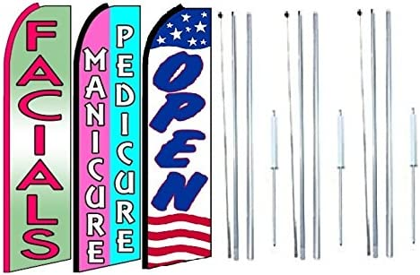 Pack of 3 facials,Manicure Pedicure Open King Swooper Feather Flag Sign Kit with Complete Hybrid Pole Set