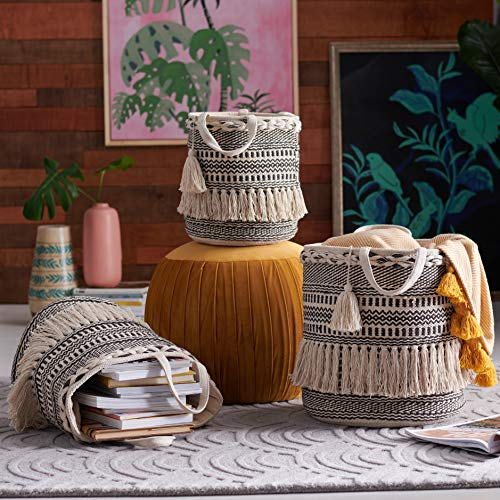 Beautiful,Unique and Sturdy Hand Woven Macrame 3 Piece Basket Set,Natural and Black by Drew Barrymore Flower Home,100% Cotton Construction for Softness,Use to Hold Magazines,Throw Blankets and Books