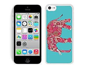 Iphone 5c TPU White Case Elephant Turquoise Background Silicone New Cell Phone Cover Accessories