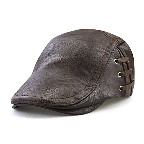 Men's Classic Leather Flat Ivy Vintage Newsboy Cap Golf Hunting Cabby Hat