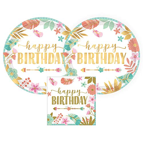 Amscan Boho Birthday Girl Gold Metallic Birthday Party Paper Plates and Paper Napkins, 16 Servings, Bundle- 3 Items