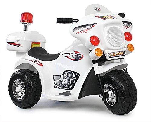Kinder Motorrad Elektrofahrzeug Polizei Bike Kindermotorrad Elektromotorrad (Weiss)