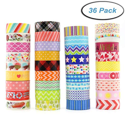 Washi Masking Tape Set of 36 Rolls, Decorative Masking Tape Collection, Colorful Tape Decorate for DIY Crafts, Festival Gift Wrapping ,Office Party Supplies, Christmas, Lamp, Cards, Scrapbook -