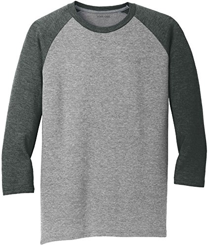 Joe's USA Men's 3/4 Raglan Baseball T-Shirt-Black/Grey-S