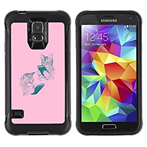 "Pulsar iFace Series Tpu silicona Carcasa Funda Case para Samsung Galaxy S5 V , Gatitos rosados ??lectura Book Dibujo del gato"""