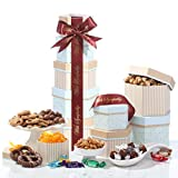 This sympathy 5 box gift tower comes with a vast assortment of chocolates and goodies. Perfect as a condolence or shiva gift. Gift basket includes: gourmet chocolate peanut butter caramel popcorn, chocolate covered pretzels, premium chocolate truffle...