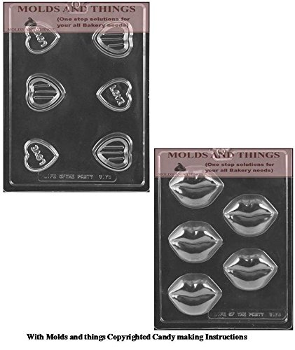 Valentines Day chocolate candy mold Love Heart POUR BOX chocolate candy mold Lips Cookie Chocolate Candy Mold With Copywrited Candy Making Instruction