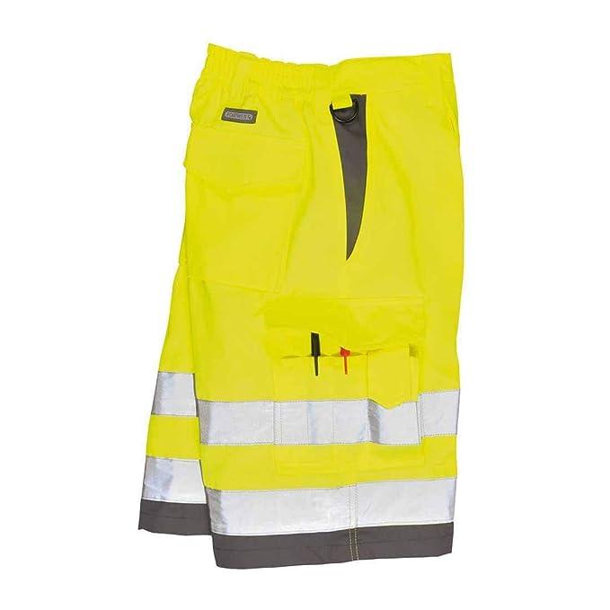 Mens Hi Vis Work Shorts Summer Wear Cargo Multi Pockets Hi Viz Reflective Shorts