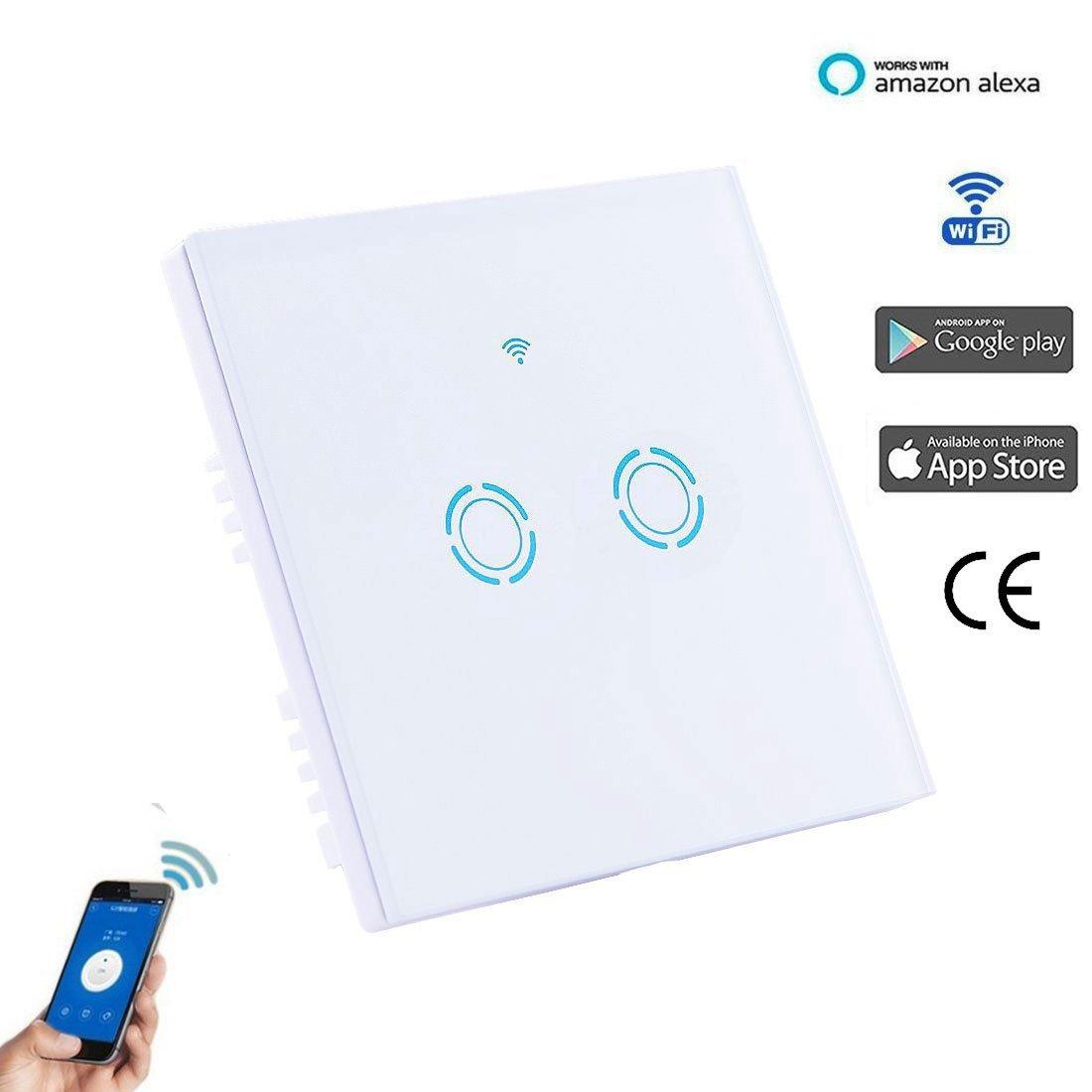 Smart WIFI Schalter Wlan Wandleuchte Lichtschalter 2 Gang Wireless ...