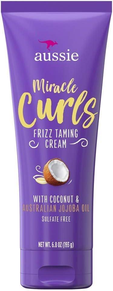 Aussie Miracle Curls crema de frizz Taming 6.8 onzas (aceite de coco y jojoba) (3 unidades)