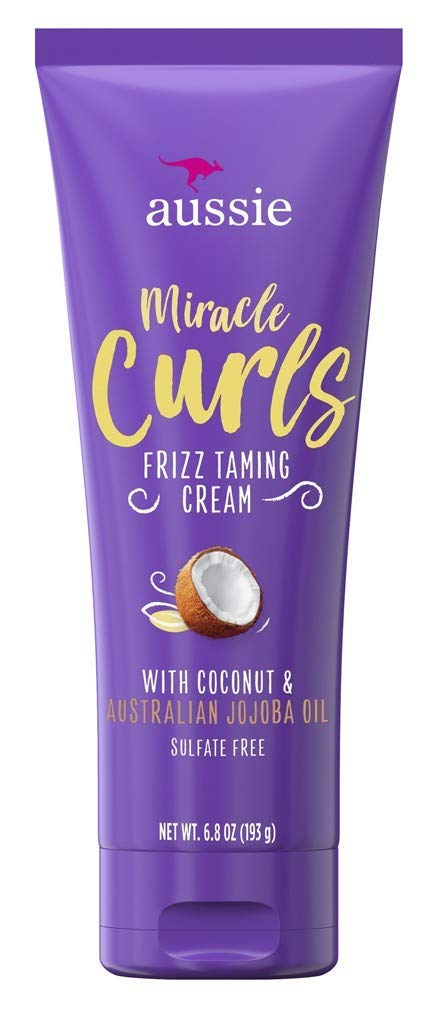 Aussie Miracle Curls Frizz Taming Cream 6.8 Ounce (Coconut & Jojoba Oil) (3 Pack)