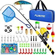 PLUSINNO Kids Fishing Pole with Spincast Reel Telescopic Fishing Rod Combo Full Kits for Boys, Girls, and Adul