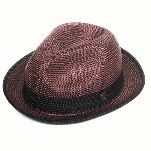 b796526a040082 Dasmarca Mens Summer Crushable & Packable Straw Fedora Hat - Florence  Maroon XXL