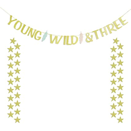 Amazon Young Wild And Three Feather Banner With 40 Gold Star Garlands Boy Girl Third Birthday 3 Year Old Baby Party Decorations Toys Games