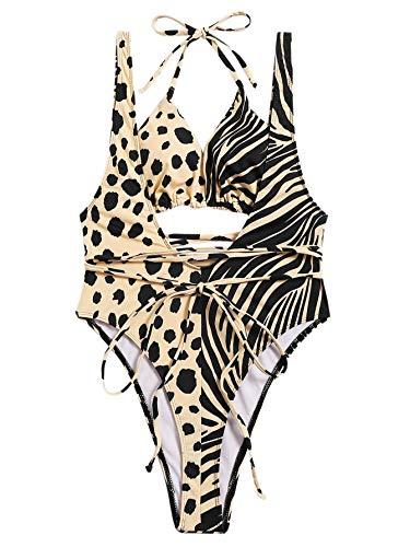 (SweatyRocks Women's Sexy One Piece Swimsuit Leopard Zebra Print Criss Cross Deep V Open Back Monokini Swimwear Multi-White S)