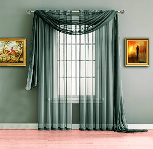 Cheap  Warm Home Designs Pair of Standard Length Grey Charcoal Sheer Window Curtains...