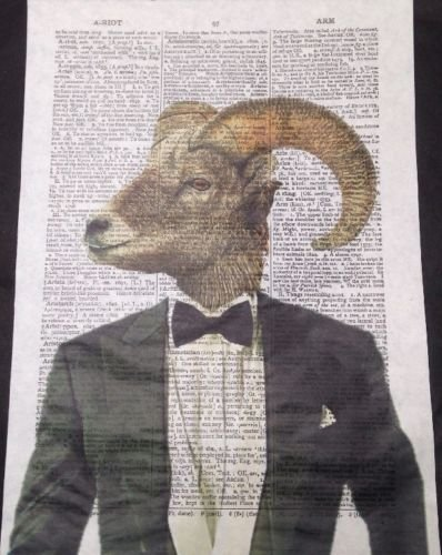 Vintage Ram Head Sheep Print Dictionary Page Wall Art Picture Bow Tie Hipster Quirky Funky