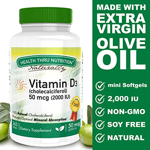 Vitamin D3 2000 IU (50 mcg), 365 Mini Softgels, Soy Free, Non-GMO, Gluten Free, Natural Vitamin D