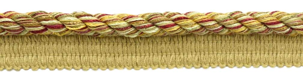 DÉCOPRO 24 Yard Package|Large 3/8 inch Camel Gold, Old Gold, Cherry, Wine, Artichoke, Honey Dew Basic Trim Cord with Sewing Lip|Style# 0038DKL|Color: Cornucopia - N47 (72 Feet / 21.9 Meters) by DÉCOPRO