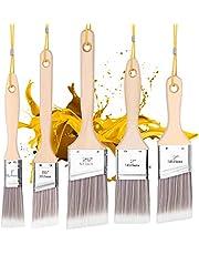 Emitever Verf Borstels Set-5 Stuk, Houten Handvat, Premium Muur Borstel Set, Huis Verf Borstel, Trim Penseel, Sjerp Penseel voor Kabinet, Sash, Home Improvement Trim Edging