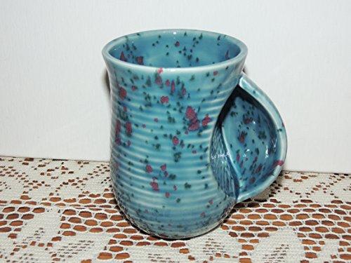 Hand Warmer  Snuggle Mug Unique Teal With Purple Speckled Glaze  Food And Dishwasher Safe