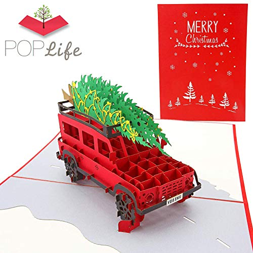 PopLife Family Christmas Tree Car Pop Up Card, Handmade 3D Holiday Greeting, Blank Merry Christmas Note, Small Stocking Present for Friends and Family, Naughty or Nice (Of Cards Tradition Christmas)