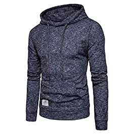 Men's  Casual Pullover Drawstring Hoodie Tracksuit Top